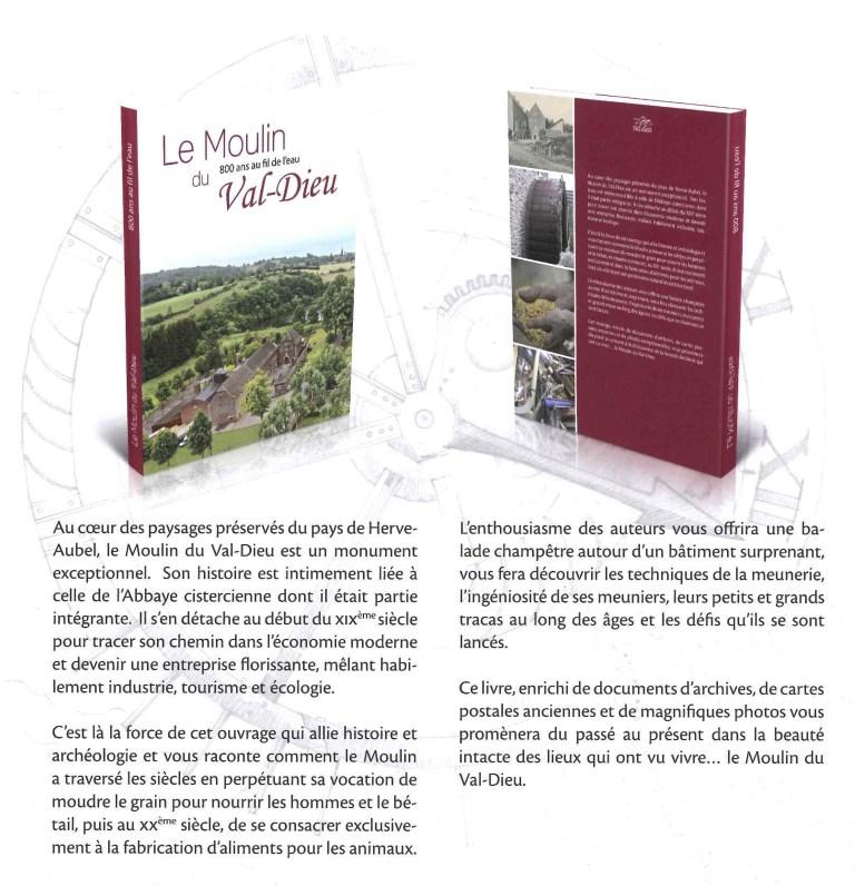 Un livre qui relate les 800 ans du moulin du Val Dieu